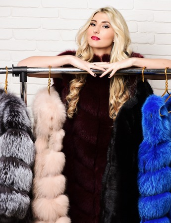 silver fox: young fashionable sexy pretty woman with beautiful long curly blonde hair in waist coat of burgundy or red fur standing over rack with golden hangers on brick wall studio background Stock Photo