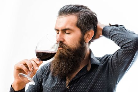 sniff: handsome bearded rich man with stylish hair mustache and long beard on serious face in blue fashion shirt holding glass and sniff smell of wine with raised hand isolated on white