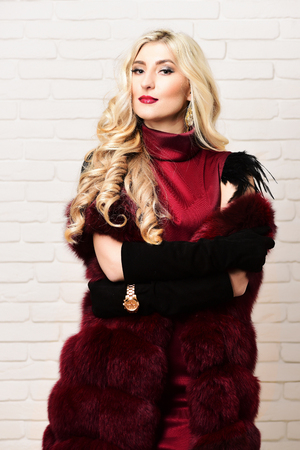 velvet dress: young fashionable sexy pretty woman with beautiful long curly blonde hair in waist coat of burgundy fur and dress on slim body and golden watch on black velvet gloves on brick wall studio background Stock Photo