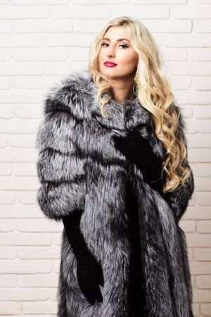 black velvet: young fashionable sexy pretty rich woman with beautiful long curly blonde hair in waist coat of grey fur and black velvet gloves on brick wall studio background