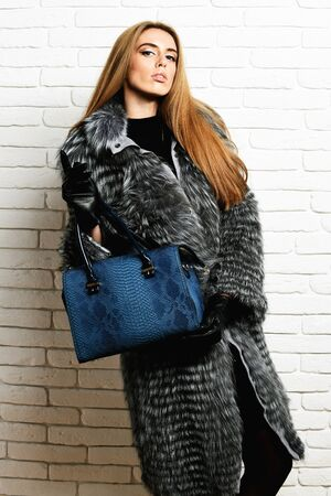 young fashionable sexy pretty rich woman with beautiful long blonde hair in waist coat of grey fur with black gloves showing blue leather bag with snake print on brick wall studio background Stock Photo
