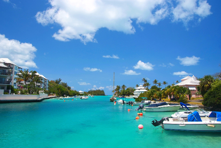 blue vessels: Bermuda, British Overseas Territory - November 26, 2008: tropical bay or harbor beach of turquoise sea with modern yachts marine boats vessels at moorage on sunny day on blue sky Editorial