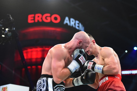 powerfull: Gdansk, Poland -September 17, 2016: An unidentified boxers in the ring during fight for ranking points in the Ergo Arena, Gdansk, Poland Editorial