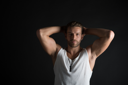 Young Handsome Bearded Man Sexy Macho With Muscular Hands And ...