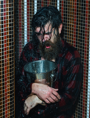 Energized handsome man, bearded hipster with beard and moustache in red checkered shirt wet with water in shower with metal ice bucket on colorful mosaic background Stock Photo