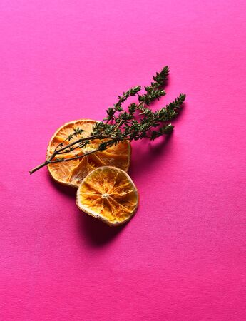 Two dried orange slices, citrus fruit natural, with aromatic thyme, mint, sprig for seasoning and decoration food on bright pink background Stock Photo
