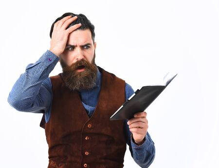 bearded man, long beard, brutal caucasian hipster with moustache holding notepad with sad face isolated on white background