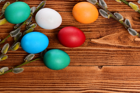 osier: easter colorful eggs painted with bright color near willow, osier tree branch on wooden background, spring holiday celebration, copy space Stock Photo