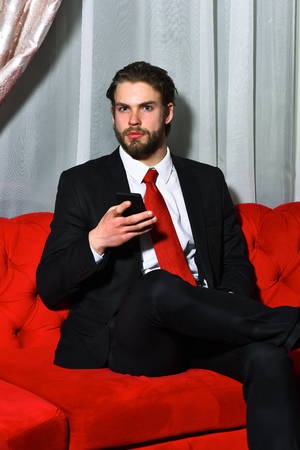 red sofa: bearded man, businessman, long beard, brutal caucasian hipster with moustache speaking on mobile or cell phone has serious face, unshaven guy with stylish hair in suit and red tie sitting on sofa Stock Photo
