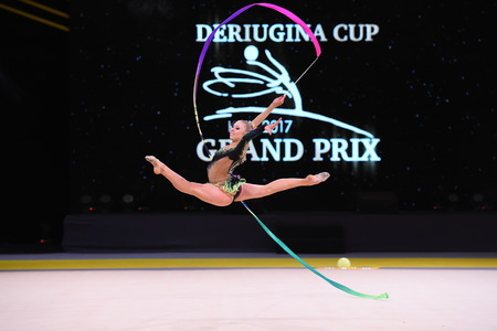 medalist: Kyiv, Ukraine- March 17, 2017: gymnast perform at rhythmic gymnastics competition Deriugina cup at Place of sport in Kyiv , Ukraine