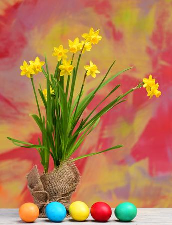 Yellow narcissus with green stem spring flower bouquet in burlap greeting and celebration spring yellow narcissus flower on green stem in burlap traditional easter m4hsunfo Images