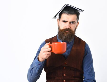 bearded man, long beard, brutal caucasian hipster with moustache holding notepad and mug or cup with coffee, tea with serious face isolated on white background
