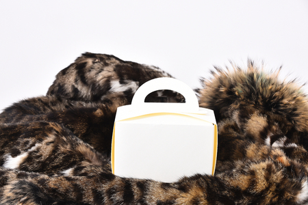 visone: White carton meal box or container on spotted fluffy fur coat background, side view Archivio Fotografico