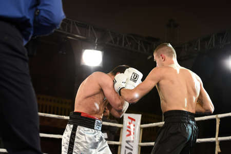 powerfull: Kyiv, Ukraine - December 24, 2016: An unidentified boxers in the ring during fight for ranking points in the NSC Olimpiyskiy, Kyiv, Ukraine