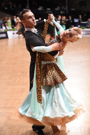 Stuttgart, Germany - August 15, 2015: An unidentified dance couple in a dance pose during Grand Slam Standart at German Open Championship, on August 15, in Stuttgart, Germany Editöryel