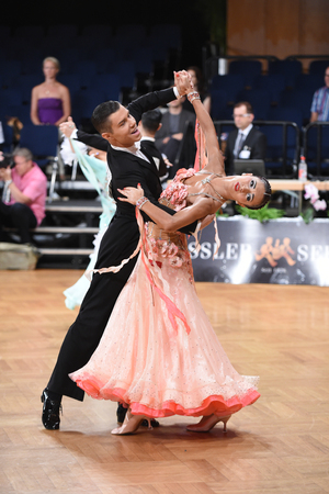 grand slam: Stuttgart, Germany - August 15, 2015: An unidentified dance couple in a dance pose during Grand Slam Standart at German Open Championship, on August 15, in Stuttgart, Germany Editorial