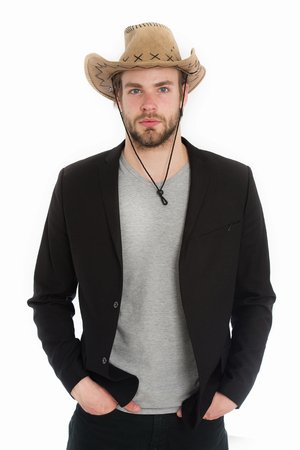 cowboy beard: business and success, confidence and sexuality, beauty and fashion, beard and hair, couture concept, boss and employee, police and farmer, american west