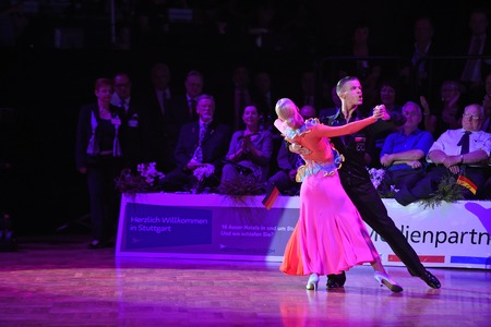 Stuttgart, Germany - August 14, 2015: An unidentified dance couple in a dance pose during Grand Slam Standart at German Open Championship, on August 14, in Stuttgart, Germany