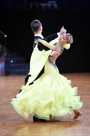 world championships: Stuttgart, Germany - August 14, 2015: An unidentified dance couple in a dance pose during Grand Slam Standart at German Open Championship, on August 14, in Stuttgart, Germany