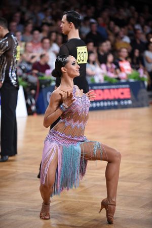 sexy girl dance: Stuttgart, Germany - August 14, 2015: An unidentified latin female dancer in a dance pose during Grand Slam Latin at German Open Championship, on August 14, in Stuttgart, Germany Editorial