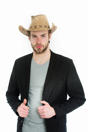 businessman or young man wearing cowboy hat and black jacket isolated on white background