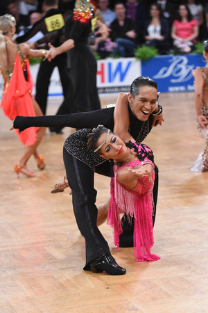 sexy girl dance: Stuttgart, Germany - August 14, 2015: An unidentified dance latin couple in a dance pose during Grand Slam Latin at German Open Championship, on August 14, in Stuttgart, Germany Editorial