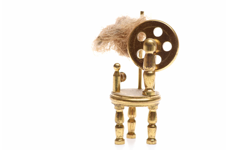 antique factory: bobbin or weaving loom, antique concept isolated on white background, copy space