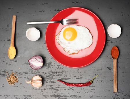 Fried egg on red plate, onion, garlic and indian spices delicious food for breakfast at home. Ingredients layed geometrically on grey surface with rough texture, top view. Healthy food concept