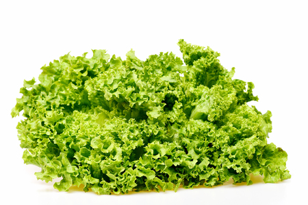lettuce leaf or green leafy vegetables isolated on white background. Healthy and fitness concept Stock Photo