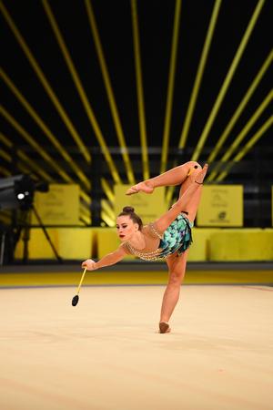 Kyiv, Ukraine- March 17, 2017: gymnast perform at rhythmic gymnastics competition Deriugina cup at Place of sport in Kyiv , Ukraine