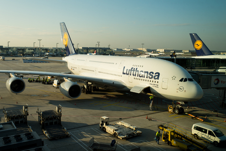 Frankfurt am Main, Germany - October 11, 2015: Lufthansa airbus, jet airliner, aircraft or large passenger plane stands in airport. Travelling by air. Aviation and transport. Vacation and adventure Stockfoto