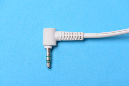 mini jack: Jack plug audio. White Audio connector. Mini jack cable.14 inch or 3,5 mm phone connector