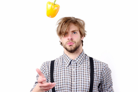 Man with serious face, beard and stylish hairdo throws yellow bell pepper up. Idea of proper nutrition. Farmer with fresh fruit, isolated on white background. Healthy lifestyle and diet concept
