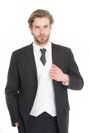 Man in formal outfit isolated on white. Manager with beard on serious face. Fashion and beauty. Business and success. Businessman or ceo in black jacket. Stock Photo - 82882058