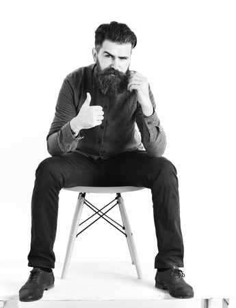 thump: Bearded man, long beard. Brutal caucasian serious hipster with moustache sitting on orange chair gesture yes wearing blue shirt, vinous pants and black shoes isolated on white background Stock Photo