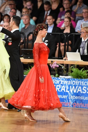 world championships: Stuttgart, Germany - August 15, 2015: An unidentified dance couple in a dance pose during Grand Slam Standart at German Open Championship, on August 15, in Stuttgart, Germany Editorial