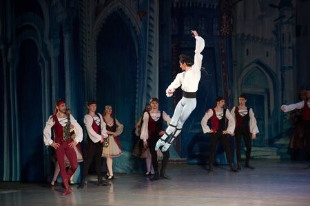 Kyiv, Ukraine- April 7, 2017 : ballet dancer Aleksandr Stoyanov dancing during ballet Corsar or Le Corsaire at National opera of Ukraine