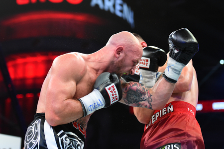 Gdansk, Poland -September 17, 2016: An unidentified boxers in the ring during fight for ranking points in the Ergo Arena, Gdansk, Poland Editorial