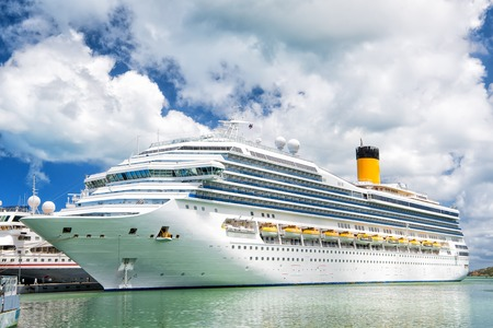 tropica: Cruise Ship Anchored in The Caribbean sea , st.Johns, Antigua. Cruise and travel concept Stock Photo