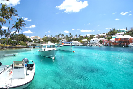 Yacht boats on blue sea water in tropical lagoon in Hamilton, Bermuda. Summer vacation and travelling. Luxury lifestyle concept Imagens