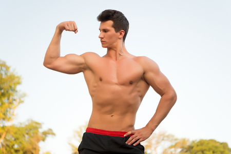nackte brust: Man or sportsman flexing arm on white sky. Bodybuilder showing muscles, biceps and triceps. Athlete with bare torso, six pack and ab. Fitness and sport. Healthy lifestyle concept
