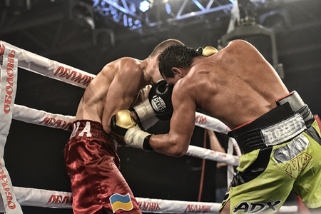 Kyiv, Ukraine - September 16, 2017: An unidentified boxers in the ring during fight for ranking points in the NSC Olimpiyskiy, Kyiv, Ukraine