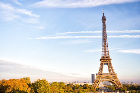 Eiffel Tower at sunset in Paris, France. love and Romantic travel background. Eiffel tower is traditional symbol of paris and love.