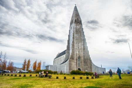 Iceland Hallgrimskirkja Cathedral in Reykjavik, Iceland, lutheran parish church, exterior in a cloudy autumn day