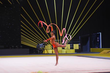 world championships: Kyiv, Ukraine- March 17, 2017: gymnast perform at rhythmic gymnastics competition Deriugina cup at Place of sport in Kyiv , Ukraine