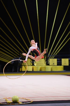Kyiv, Ukraine- March 17, 2017: gymnast perform at rhythmic gymnastics competition Deriugina cup at Place of sport in Kyiv , Ukraine