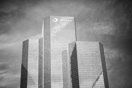 La Defense, France   September 23, 2017: Building Total, Office Skyscraper  With