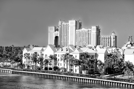 NASSAU, BAHAMAS - March 9. 2016: The Atlantis Paradise Island resort, located in the Bahamas . The resort cost $800 million to bring to life the myth and legend of the lost city of Atlantis. Editorial