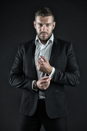 Modern life and agile business. Business and success. Manager with beard on confident face. Man in formal outfit on black background. Businessman or ceo fashion. Фото со стока
