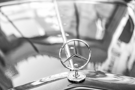 Berlin, Germany - may 31, 2017: Mercedes Benz Sign or logo Close Up. Founded in 1926 is a German luxury automobile manufacturer, a multinational division of the German manufacturer Daimler AG Редакционное